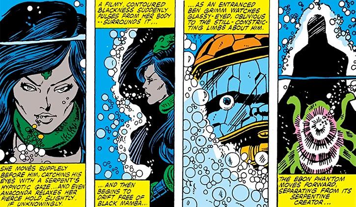 Black Mamba (Marvel Comics) underwater starts using her power