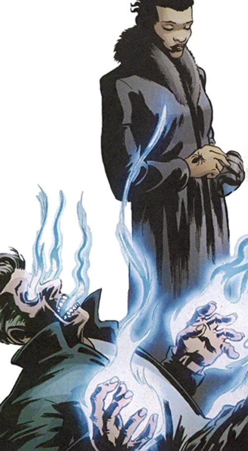 Black Mariah (Fallen Angel comics) over a man burning with magic fire
