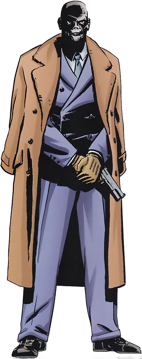 Black Mask (DC Comics) in a purple suit and camel coat