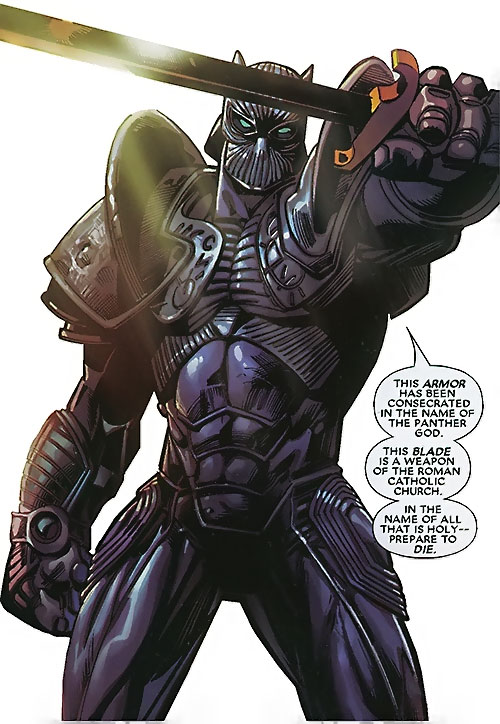 Black Panther (T'Challa by Hudlin) (Marvel Comics) in magic plate armor with the Ebony Sword