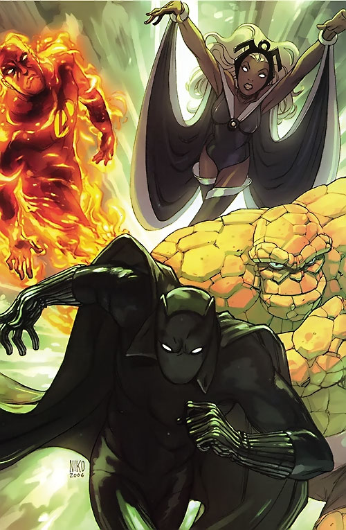 Black Panther (T'Challa by Hudlin) (Marvel Comics) with his Fantastic 4