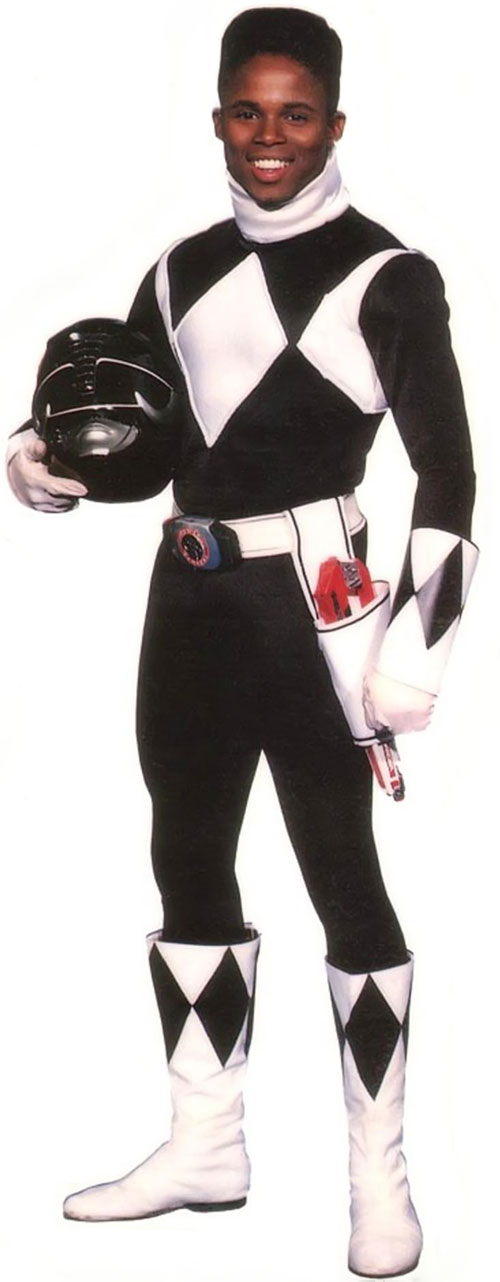 Black Ranger Zack Taylor (Walter Jones in Mighty Morphin Power Rangers) with helmet off
