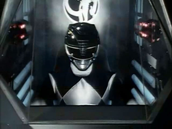 Black Ranger Zack Taylor (Walter Jones in Mighty Morphin Power Rangers) in Mastodon cockpit