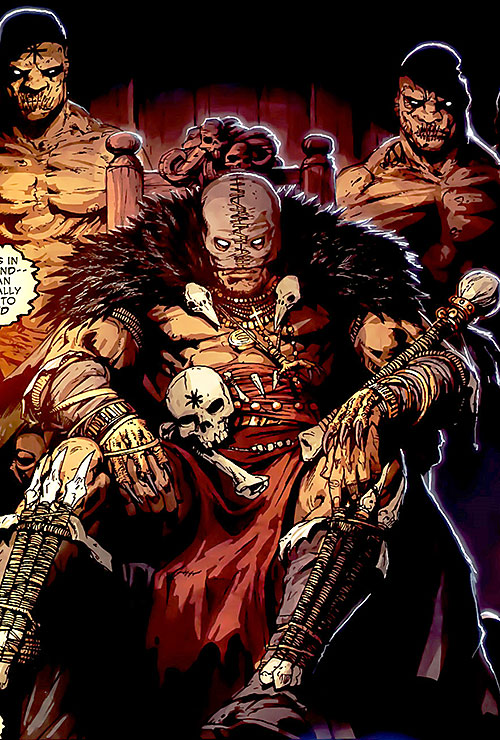 Black Talon (Marvel Comics) on a throne with zombie guards