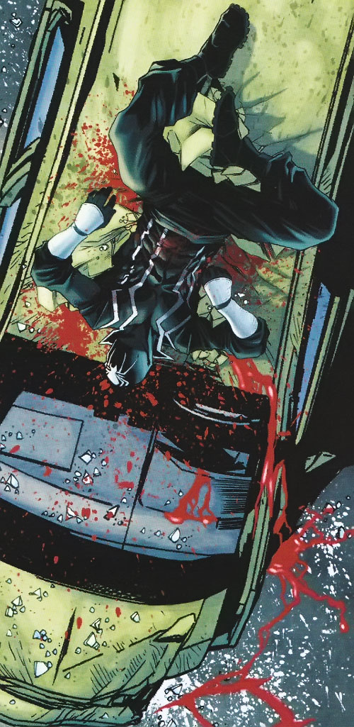 Black Tarantula (Daredevil ally) (Marvel Comics) (LaMuerto) bleeding heavily crashed on car