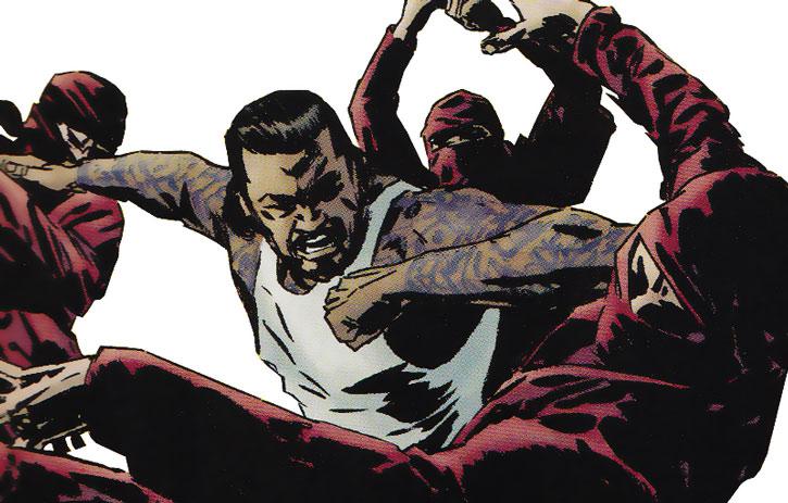 Black Tarantula (Carlos LaMuerto) fights Hand ninja