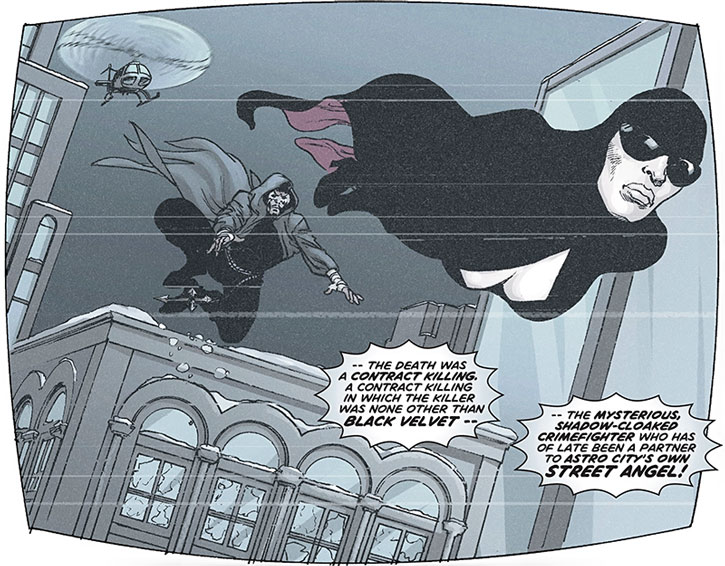 Black Velvet flying over Astro City, followed by Street Angel