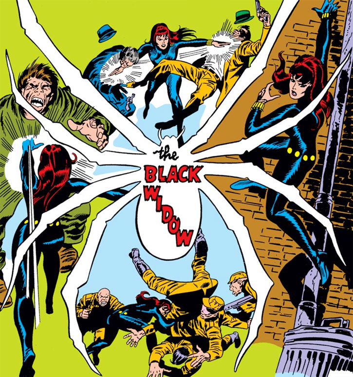 Black Widow intro splash page during the 1970s