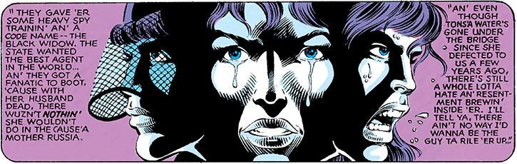 Black Widow flashback narration sequence