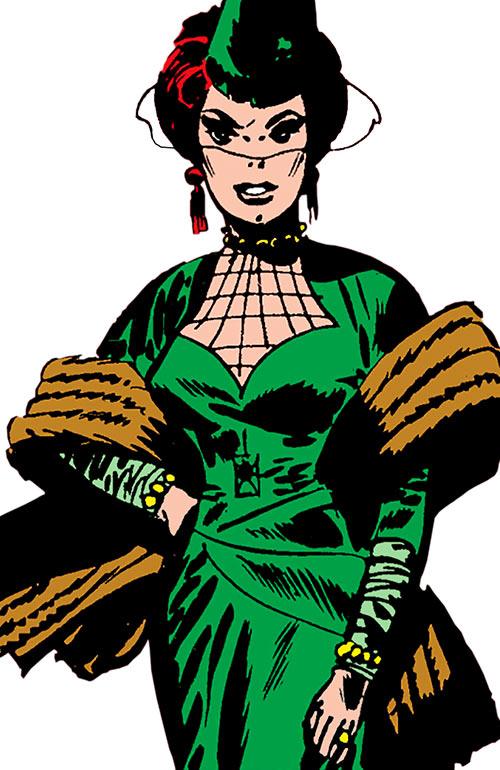 The Black Widow (Natalya Romanova) (Marvel Comics) as a 1960s femme fatale in a green ensemble