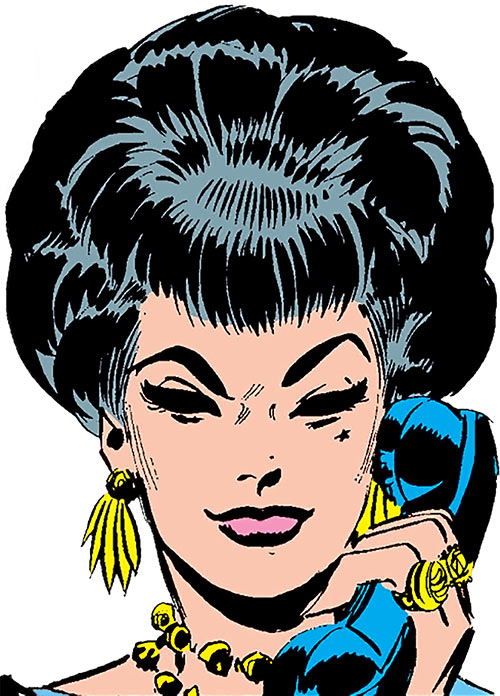 The Black Widow (Natalya Romanova) (Marvel Comics) as a 1960s femme fatale, on the phone