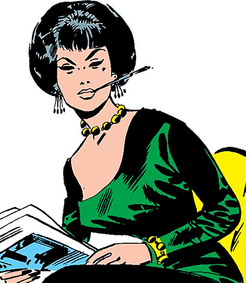 The Black Widow (Natalya Romanova) (Marvel Comics) during the 1960s with a cigarette holder