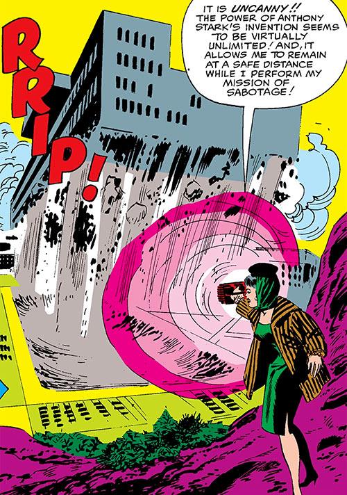 The Black Widow (Natalya Romanova) (Marvel Comics) destroys a building with anti-gravity