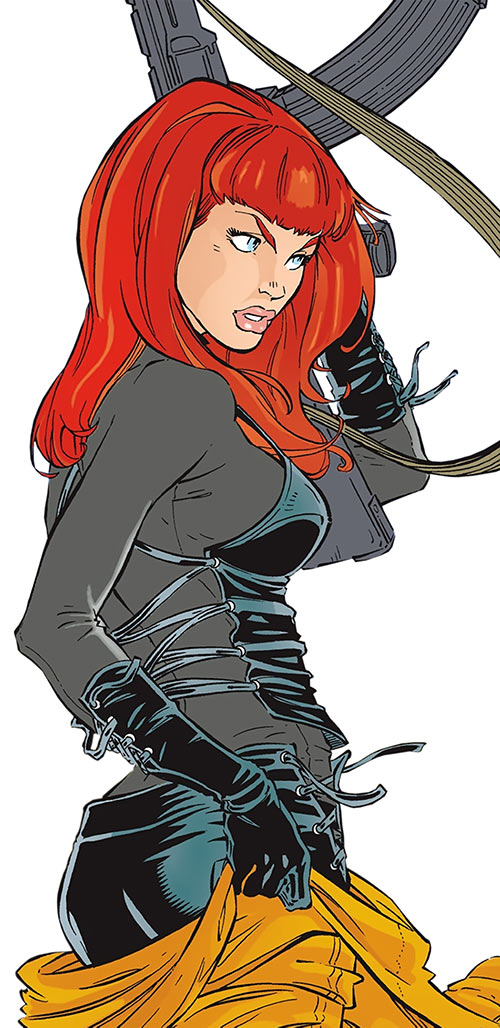 The Black Widow (Natalya Romanova) (Marvel Comics) shedding an orange flight suit