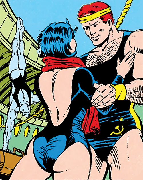 The Black Widow (Natalya Romanova) (Marvel Comics) and her future husband, training in gymnastics