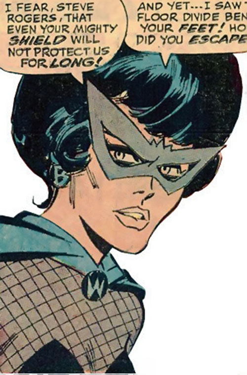 Black Widow (Romanoff) during the 1960s (Marvel Comics) face closeup with gray mask