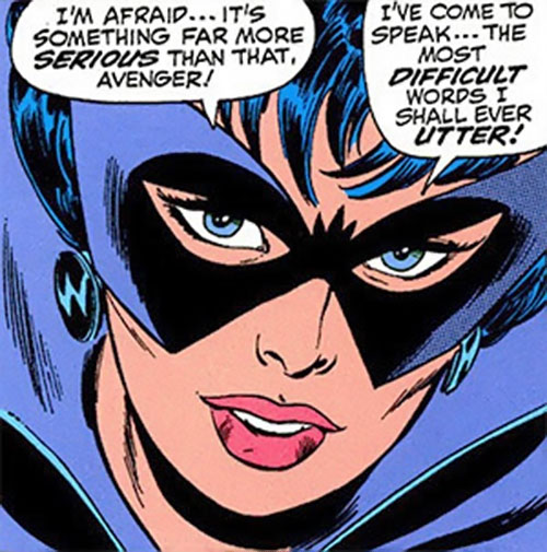Black Widow (Romanoff) during the 1960s (Marvel Comics) face closeup with BW earrings