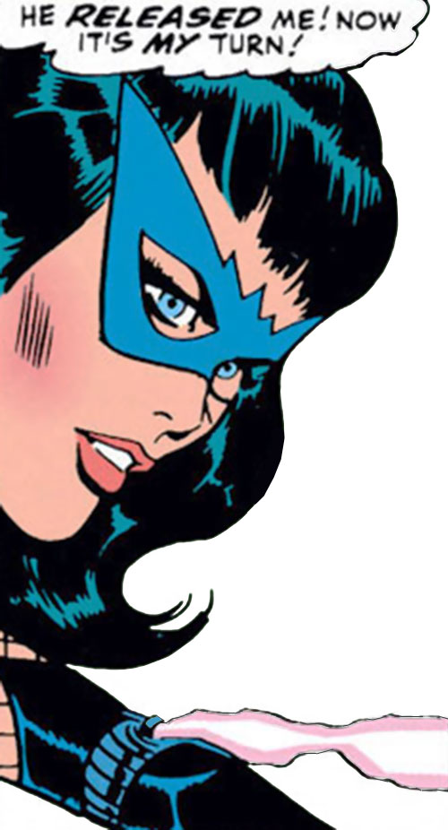 Black Widow (Romanoff) during the 1960s (Marvel Comics) - face closeup with smoking bite