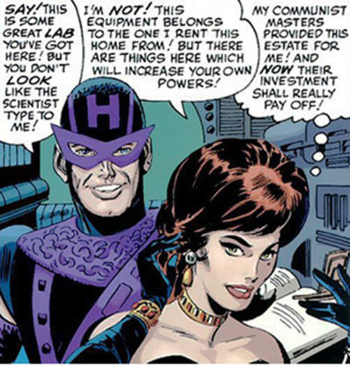 Black Widow (Romanoff) during the 1960s (Marvel Comics) manipulating Hawkeye