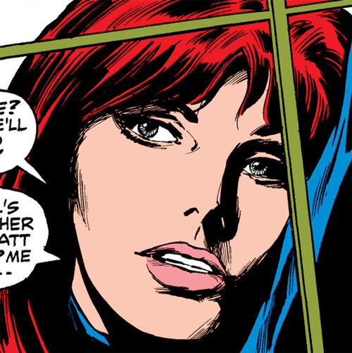 Black Widow (1970s Marvel Comics) face closeup behind a window