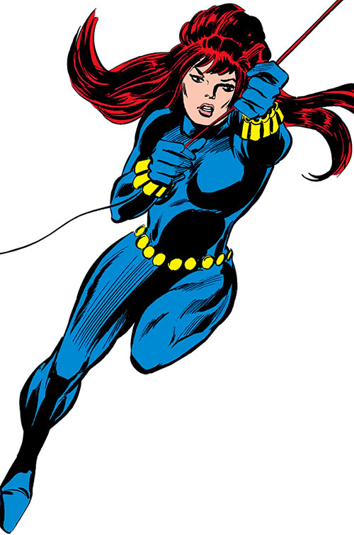 Black Widow (1970s Marvel Comics) in mid-swing on her line