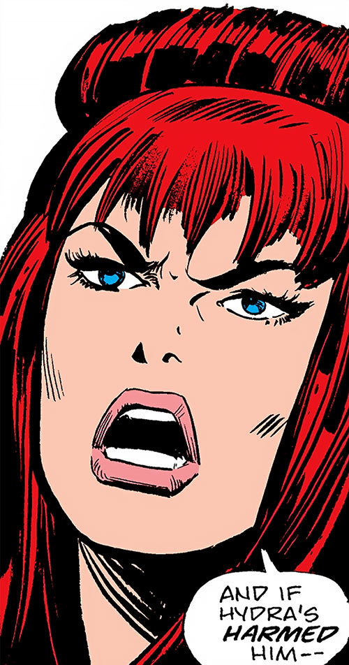 Black Widow (1970s Marvel Comics) threatening face closeup