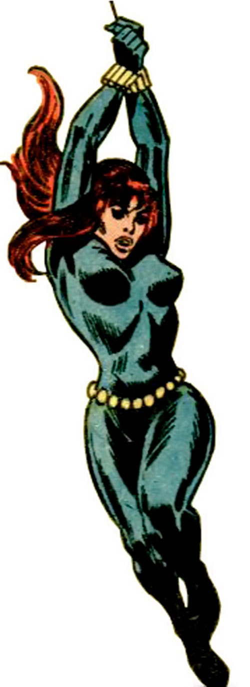 Black Widow (1970s Marvel Comics) swinging on her line