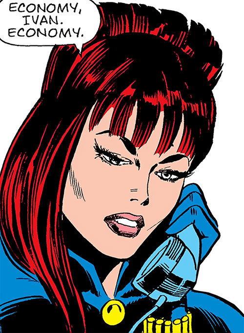 Black Widow (1970s Marvel Comics) face closeup on the phone