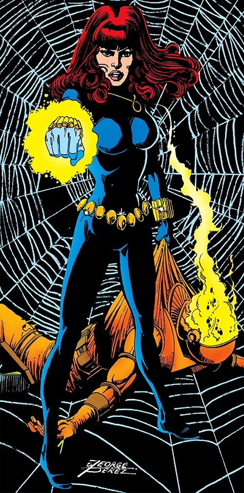 Black Widow (1970s Marvel Comics) by Perez with glowing Widow's bite