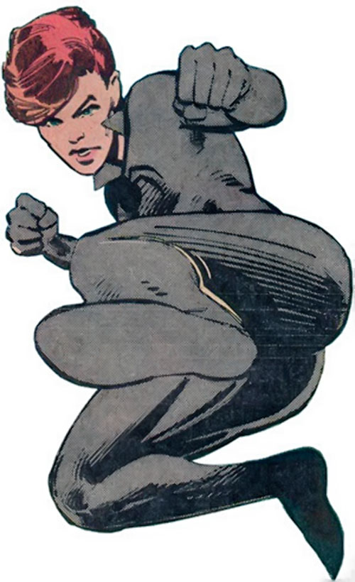 Black Widow (1980s Marvel Comics) doing a jump kick
