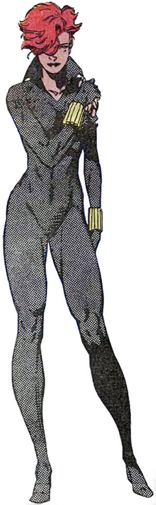 Black Widow (1980s Marvel Comics) in the grey costume holding her wounded shoulder