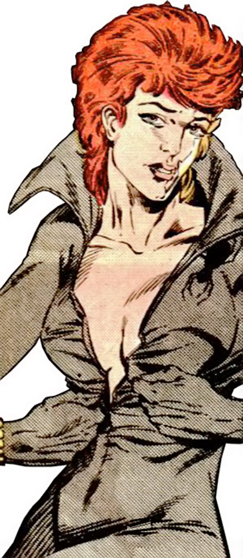 Black Widow (1980s Marvel Comics) zipping up the gray costume
