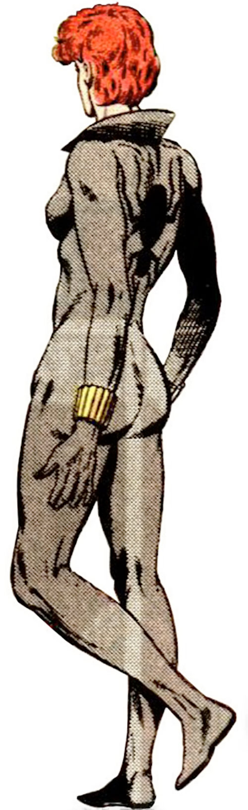 Black Widow (1980s Marvel Comics) back view in the gray costume