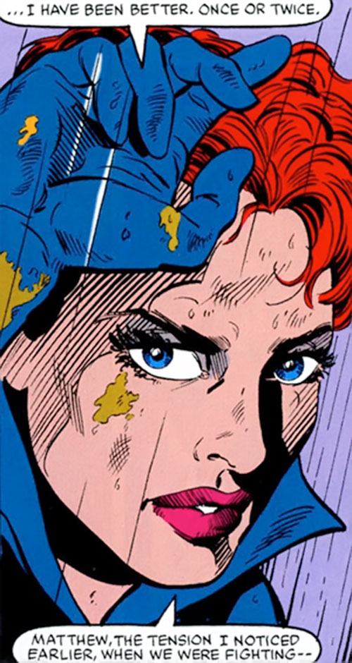Black Widow (1980s Marvel Comics) muddy face closeup
