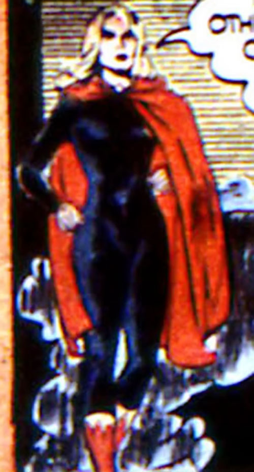 Black Widow (Marvel Comics) (Claire Voyant) with a black body suit and red cape
