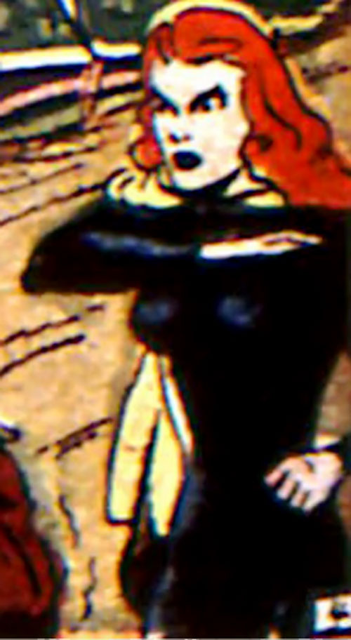 Black Widow (Marvel Comics) (Claire Voyant) with red hair and a black body suit