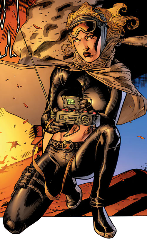 Black Widow (Yelena Belova) (Marvel Comics) with a detonator