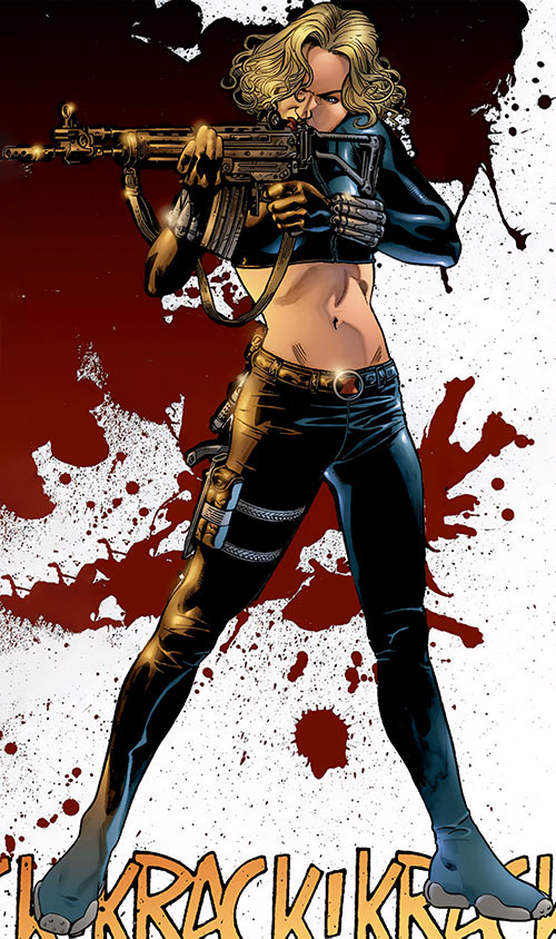 Black Widow (Yelena Belova) (Marvel Comics) shooting an assault rifle