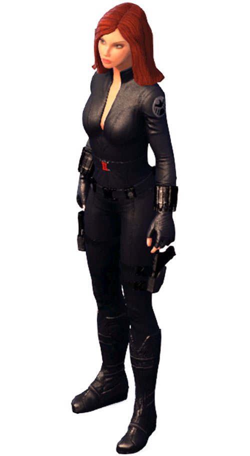 Black Widow (Marvel Heroes video game) standing in the snow