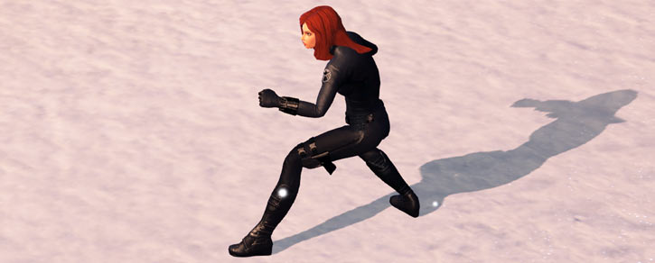 Black Widow (Marvel Heroes video game) evening snow