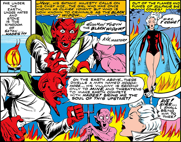 Black Widow (Marvel Timely Comics) (Claire Voyant) and devils
