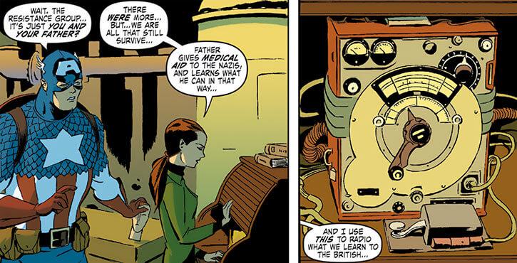 Blackbird (Marvel Comics) (Gretchen Zeller) with Captain America and radio