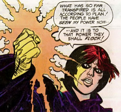 Blackstarr (Supergirl enemy) (DC Comics) with her hand burning