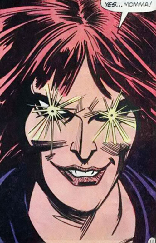 Blackstarr (Supergirl enemy) (DC Comics) with eyes glowing