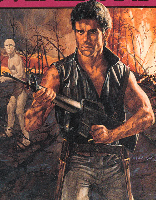 Blade (Robbins' Endworld novels) with a M16 on a burning hill
