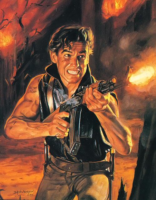 Blade (Robbins' Endworld novels) firing an AK in a burning forest