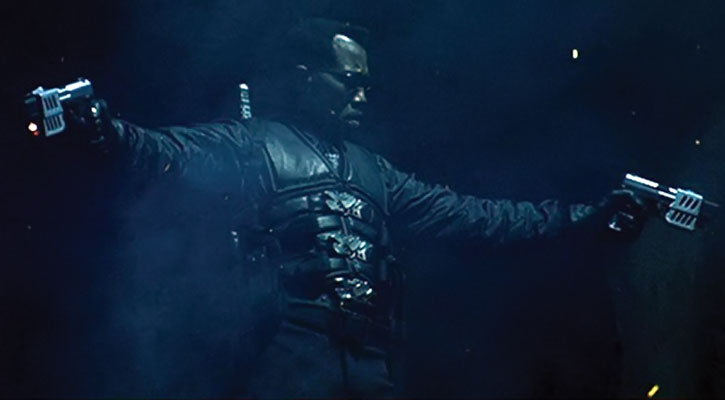 Blade (Wesley Snipes) dual-wields pistols