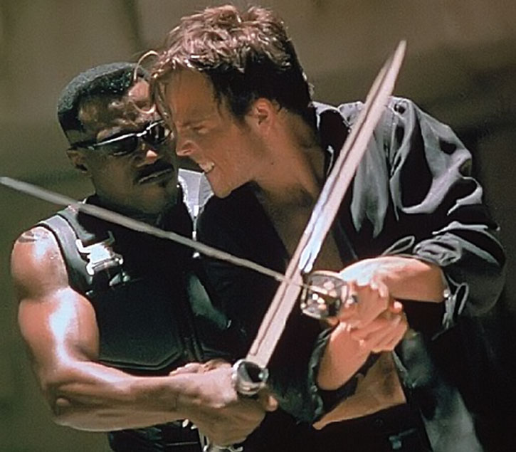 Blade (Wesley Snipes) fights Deacon Frost (Stephen Dorff)