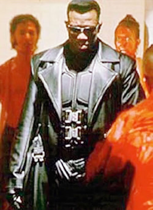 Blade (Wesley Snipes) and blood-drenched vampires