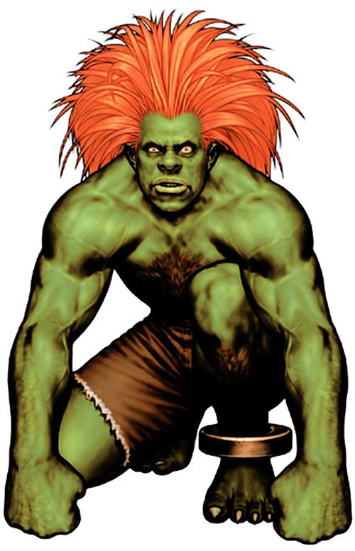Blanka (Street Fighters) crouching
